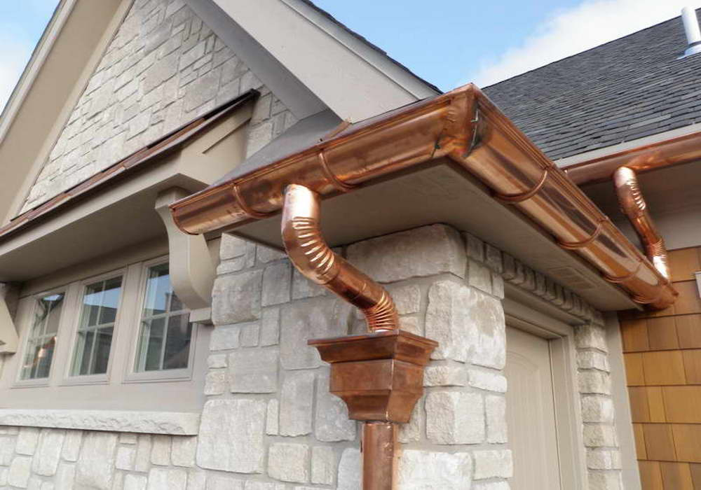 Copper Gutters, Hopper Head and Downpipe