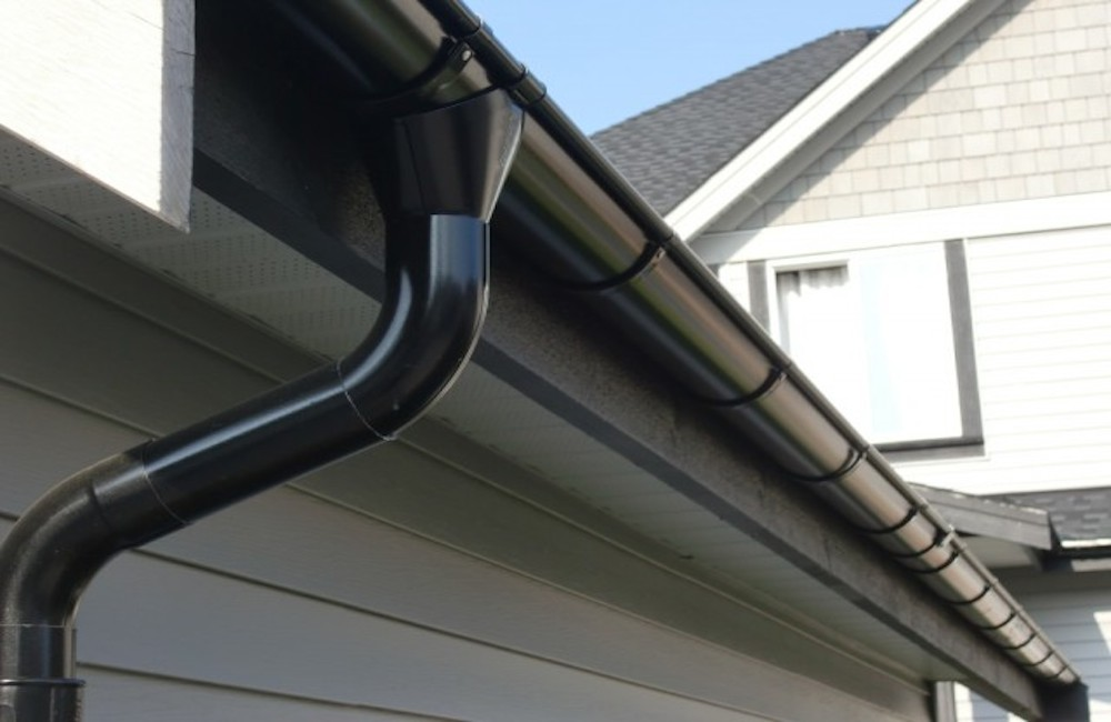 Black Lindab Gutters and Downpipe