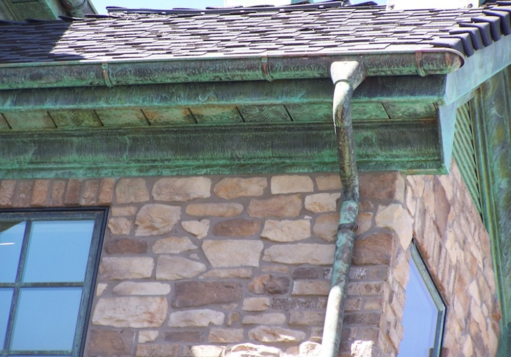 Copper Gutters and Downpipe Patina
